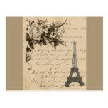 Flores y torre Eiffel francesas viejas Postal
