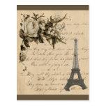 Flores y torre Eiffel francesas viejas Postales