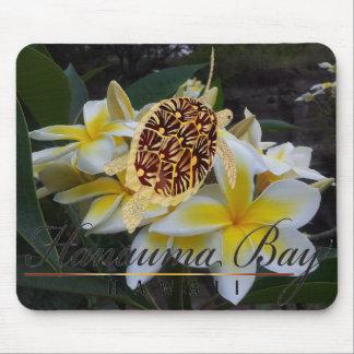 Flores y tortuga del Plumeria de Hawaii Mouse Pads