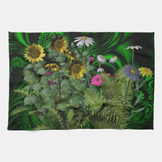 Flores y un fractal toallas de mano