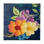 Flores y vides tropicales azulejo
