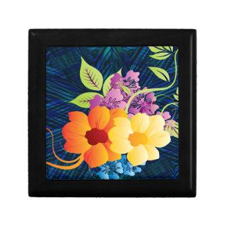 Flores y vides tropicales joyero cuadrado pequeño