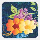 Flores y vides tropicales pegatinas cuadradases personalizadas