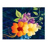 Flores y vides tropicales postal