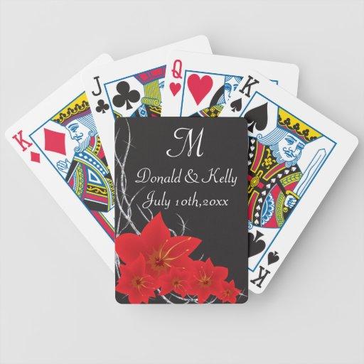 Flores y vides tropicales rojas del diamante baraja cartas de poker