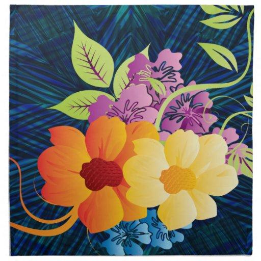 Flores y vides tropicales servilleta imprimida