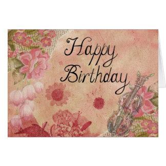 Flores y violín: Tarjeta del feliz cumpleaños