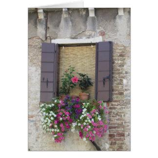Flores y Windowsill en Venecia, Italia Tarjeta Pequeña