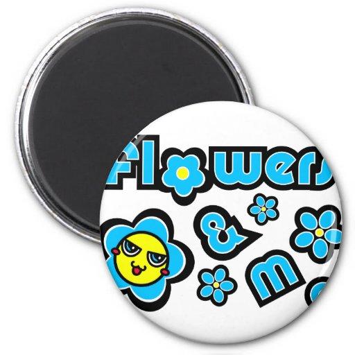 Flores y yo imán de frigorifico