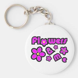 Flores y yo llavero personalizado