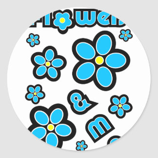 Flores y yo etiquetas redondas