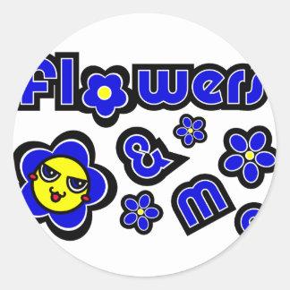 Flores y yo pegatina redonda