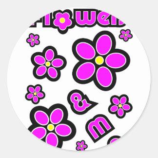Flores y yo etiqueta redonda