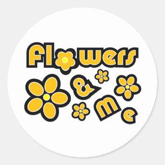 Flores y yo pegatinas redondas