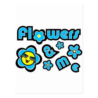 Flores y yo postal