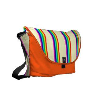 Floresant Orange Bag With Rainbow Stripes. Messenger Bags