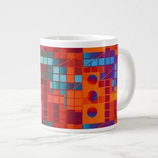 Florescent Abstract Cubes 20 Oz Large Ceramic Coffee Mug