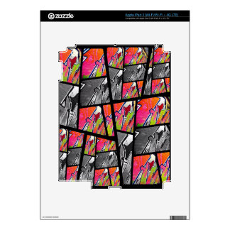 Florescent Black&White Abstract Decals For iPad 3