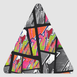 Florescent Black&White Abstract Triangle Sticker