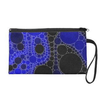 Florescent Blue Black Abstract Wristlet