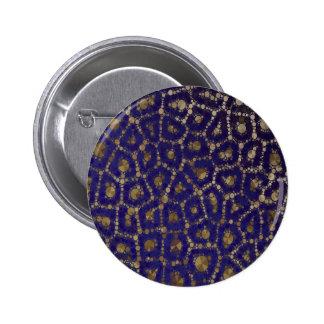 Florescent Blue Gold Cheetah Abstract Pinback Button