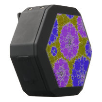 Florescent Blue Green Abstract Flowers Black Bluetooth Speaker