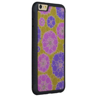 Florescent Blue Green Abstract Flowers Carved Maple iPhone 6 Plus Bumper Case