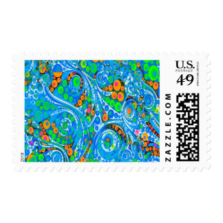 Florescent Blue Green Abstract Postage