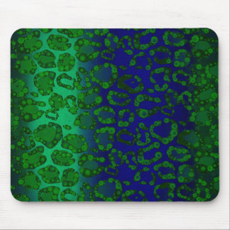Florescent Blue Green Cheetah Mouse Pads