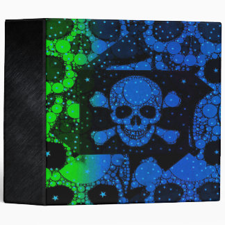 Florescent Blue Green Skull Bling Binders