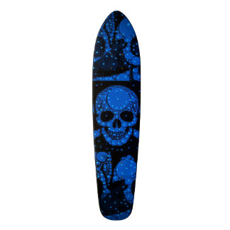 Florescent Blue Green Skull Bling Skateboard Deck