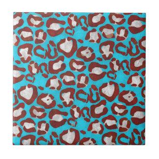 Florescent Blue Red Cheetah Ceramic Tile