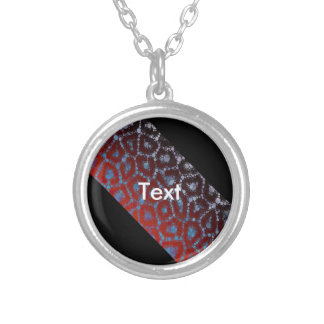 Florescent Cheetah Banner Abstract Round Pendant Necklace