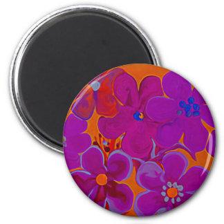 Florescent flowers purple & red paints magnet