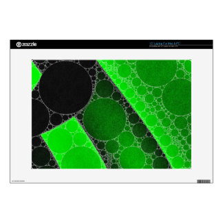"""Florescent Green Black Circle Abstract 15"""" Laptop Decals"""