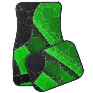 Florescent Green Black Circle Abstract Car Mat
