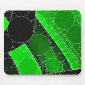 Florescent Green Black Circle Abstract Mouse Pad