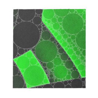Florescent Green Black Circle Abstract Notepad