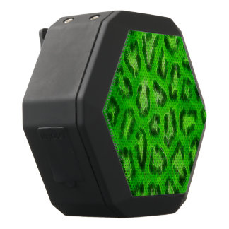 Florescent Green Cheetah Abstract Texture Black Bluetooth Speaker