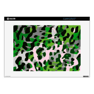 "Florescent Green Grey Cheetah Abstract 15"" Laptop Skin"