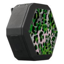 Florescent Green Grey Cheetah Abstract Black Bluetooth Speaker
