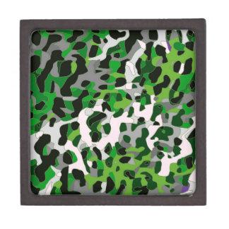 Florescent Green Grey Cheetah Abstract Keepsake Box