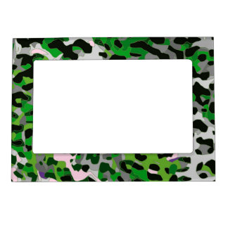 Florescent Green Grey Cheetah Abstract Magnetic Frame