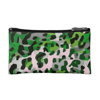 Florescent Green Grey Cheetah Abstract Makeup Bag
