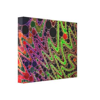 Florescent Green Orange Zigzag Abstract Canvas Print