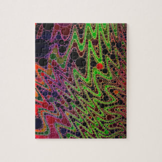 Florescent Green Orange Zigzag Abstract Jigsaw Puzzle