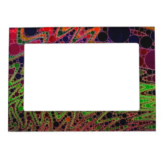 Florescent Green Orange Zigzag Abstract Magnetic Photo Frame