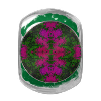 Florescent Green Pink Abstract Glass Candy Jars