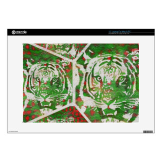 "Florescent Green Red Tiger 15"" Laptop Skins"