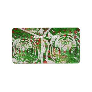 Florescent Green Red Tiger Label